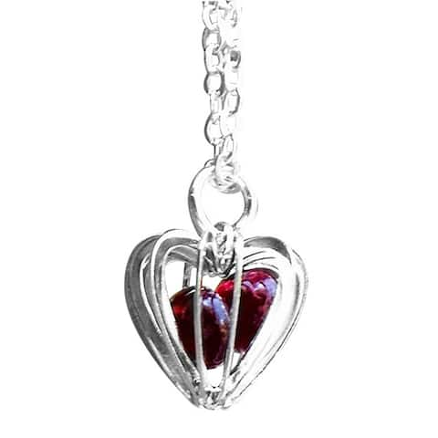 Recycled Reclaimed Vintage 1940's Ruby Beer Bottle Glass Heart Cage Necklace