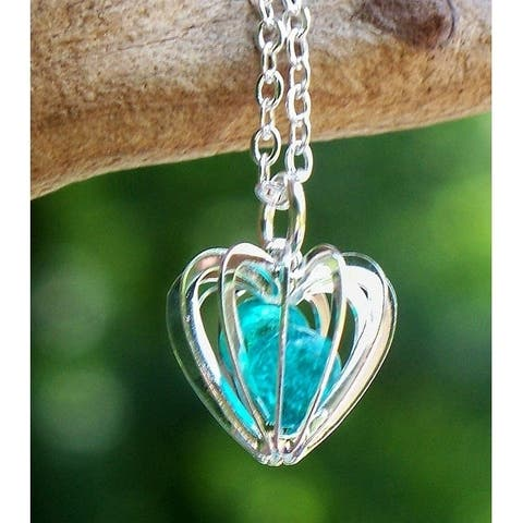 Recycled Vintage Aquamarine Mason Jar Glass Heart Cage Necklace