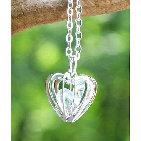 Recycled Vintage Clear Milk Bottle Glass Heart Cage Necklace