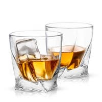 JoyJolt Atlas Non-Leaded Crystal Old Fashioned  Whiskey Glass, 10.8 Ounce Set of 2