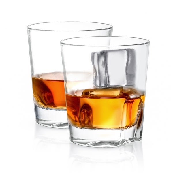 JoyJolt Carina Non-Leaded Crystal, Old Fashioned Whiskey Glass, 8.4 oz Set of 2