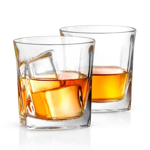 JoyJolt Luna Non-Leaded Crystal, Old Fashioned Whiskey Glass, 10.5 Ounce Set of 2