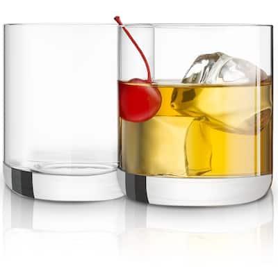 JoyJolt Nova Non-Leaded Crystal Whiskey Glasses, 10 oz Set of 2 Old Fashioned Glasses