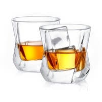 JoyJolt Aurora Non-Leaded Crystal Old Fashioned Whiskey Glasses, 8.1 Ounce Set of 2