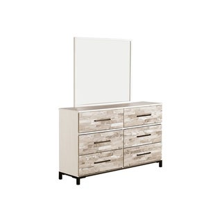 Signature Design by Ashley Evanni Contemporary Multi White/Blush Pink Wood 6-drawer Dresser