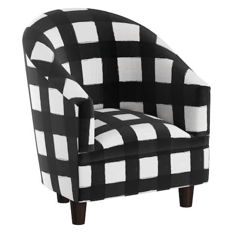Skyline Furniture Kid's Tub Chair in Buffalo Square Black