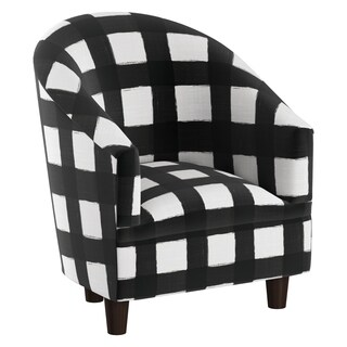 Skyline Furniture Kid's Tub Chair in Buffalo Square Black