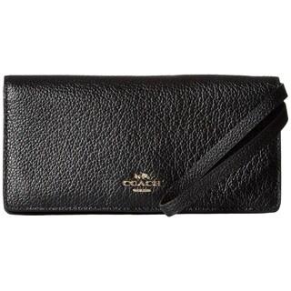 COACH Pebbled Leather Slim Wallet Light/Black