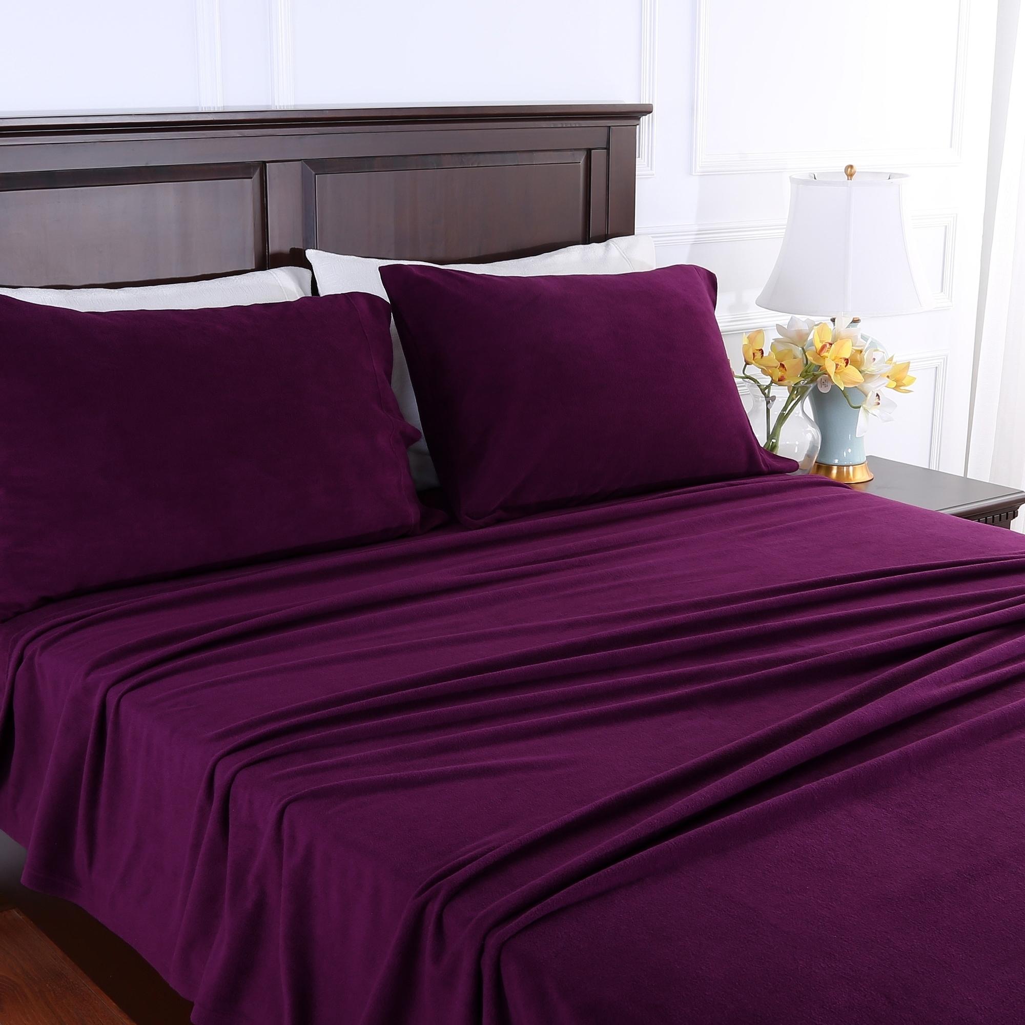 Genuine Microfleece Bed Sheet Set Warm Winter Color Palette On Sale Overstock 21018920