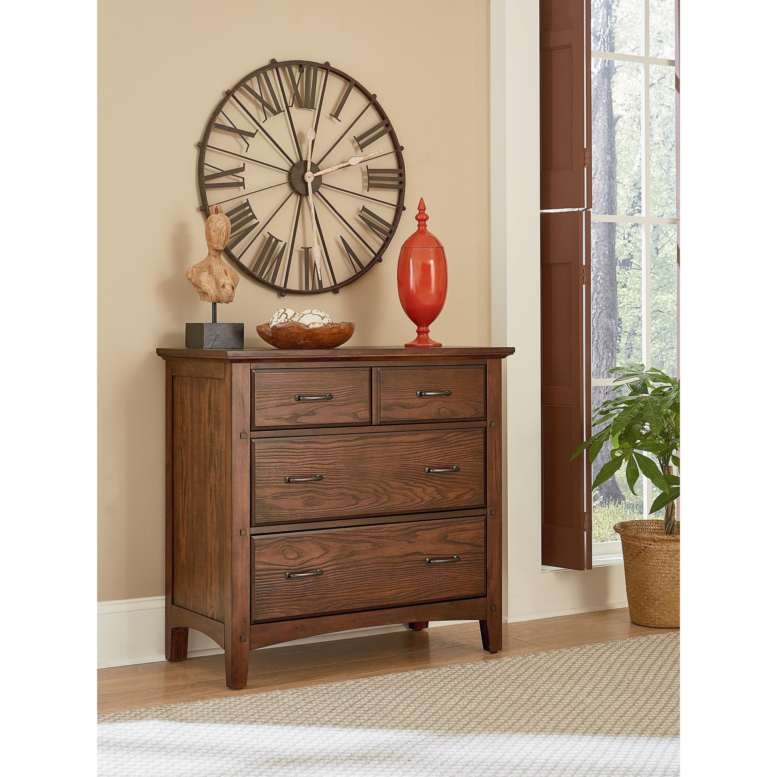 OSP Home Furnishings Modern Mission Bedroom 3 Drawer Chest in Vintage Oak Finish