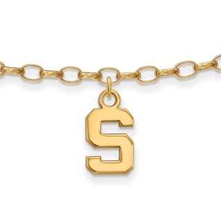 Sterling Silver With Gold Plating LogoArt Michigan State University Anklet