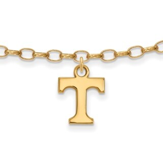 Sterling Silver With Gold Plating LogoArt University of Tennessee Anklet