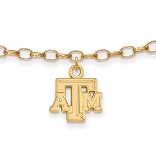 Versil Sterling Silver With Gold Plating LogoArt Texas A&M University Anklet