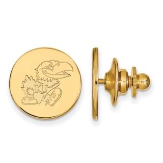 Sterling Silver With Gold Plating LogoArt University of Kansas Lapel Pin
