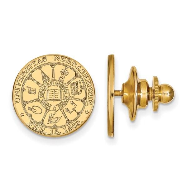 Versil Sterling Silver With Gold Plating LogoArt University of Nebraska Crest Lapel Pin
