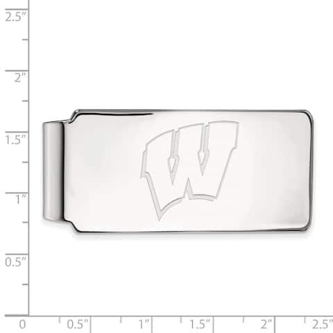 Versil Sterling Silver LogoArt University of Wisconsin Money Clip