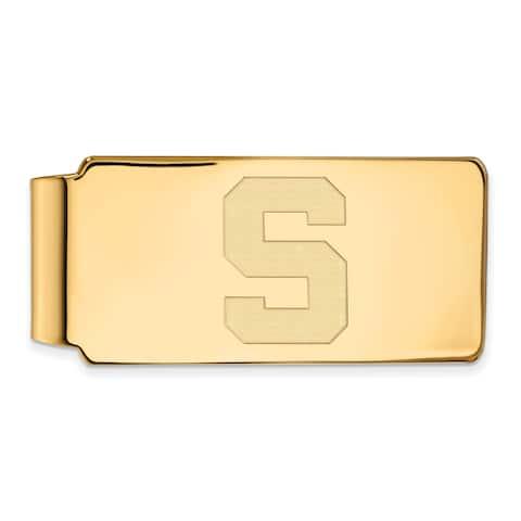 Versil Sterling Silver With Gold Plating LogoArt Michigan State University Money Clip
