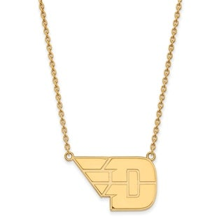 Sterling Silver with Gold Plating LogoArt University of Dayton Large Pendant with Necklace