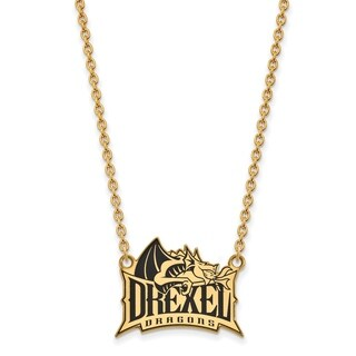 Sterling Silver with Gold Plating LogoArt Drexel U Enamel Large Pendant with Necklace