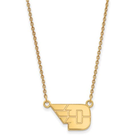Sterling Silver with Gold Plating LogoArt University of Dayton Small Pendant with Necklace by Versil