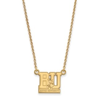 Sterling Silver with Gold Plating LogoArt Boston University Small Pendant with Necklace