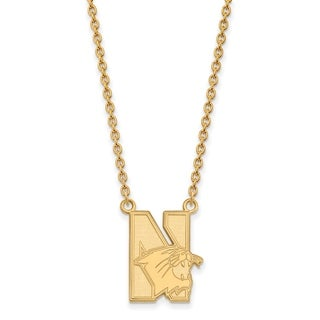 Sterling Silver with Gold Plating LogoArt Northwestern University Large Pendant with Necklace