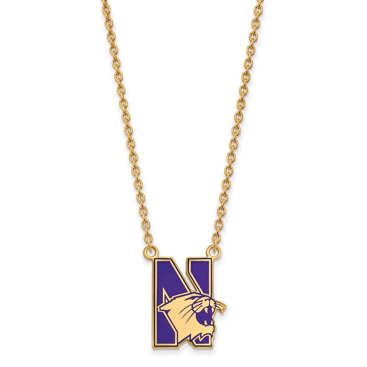 Collegiate Northwestern University Sterling Silver LogoArt Northwestern University Large Pendant