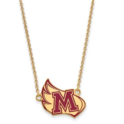 Sterling Silver Gold-plated LogoArt Meredith College Large Enamel Pendant with Necklace by Versil