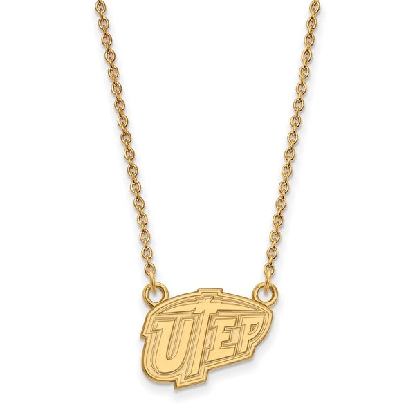 Sterling Silver with Gold Plating LogoArt The University Of Texas at El  Paso Sm Pendant with Necklace