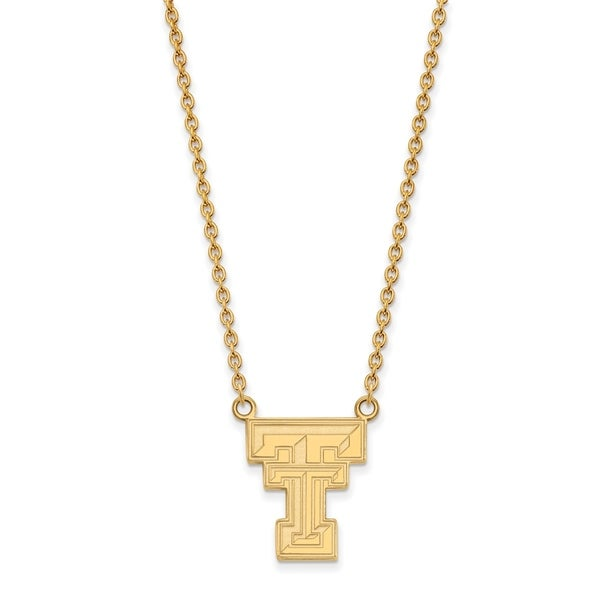 Versil Sterling Silver with Gold Plating LogoArt Texas Tech University  Large Pendant with Necklace