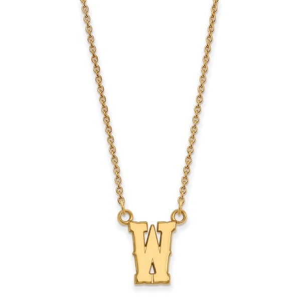 Versil Sterling Silver with Gold Plating LogoArt The University Of Wyoming  Small Pendant with Necklace