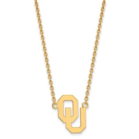 Sterling Silver Gold Plating LogoArt Oklahoma Large Pendant with Necklace by Versil