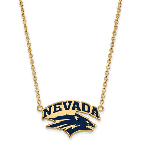 Sterling Silver and Gold-plating LogoArt University Of Nevada Large Enamel Pendant with Necklace by Versil