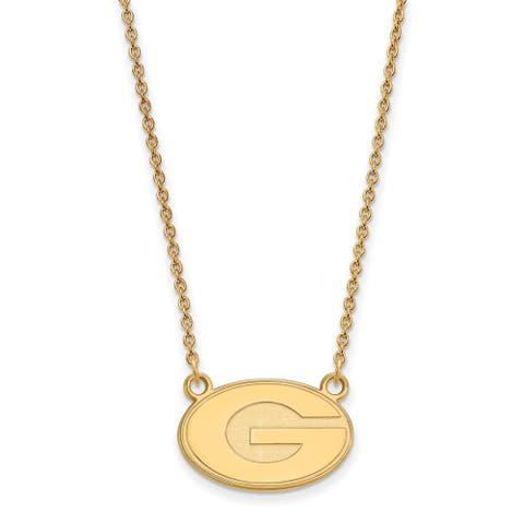 Sterling Silver with Gold Plating LogoArt University of Georgia Small Pendant with Necklace by Versil