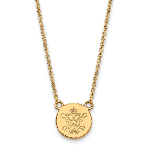 Sterling Silver with Gold Plating LogoArt William and Mary Small Disc Pendant by Versil