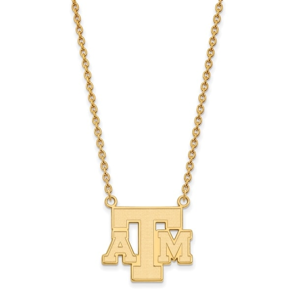 Versil Sterling Silver with Gold Plating LogoArt Texas A and M University  Large Pendant with Necklace
