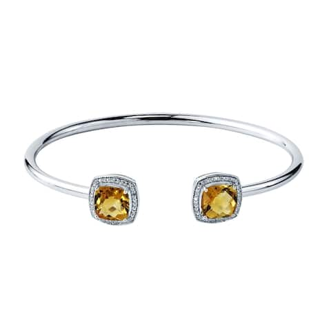 Auriya 3 3/4ct Cushion Yellow Citrine Gold over Silver Bangle Bracelet with Diamond Accents