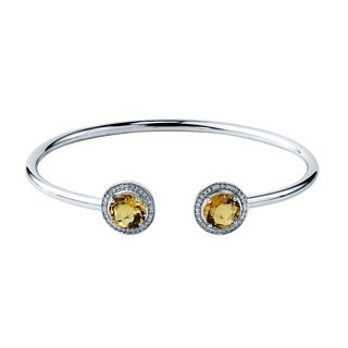 Auriya Gold over Silver 3.50ct. Round Citrine and Halo Diamond Stackable Cuff Bangle Bracelet