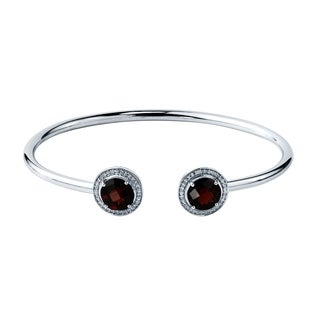Stackable 4 1/4ct Round Red Garnet Open Bangle Bracelet with Diamond Accents by Auriya in Gold over Silver