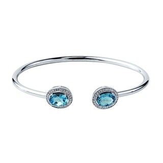 Stackable 2 1/2ct Oval Swiss Blue Topaz Open Bangle Bracelet with Diamond Accents by Auriya in Gold over Silver