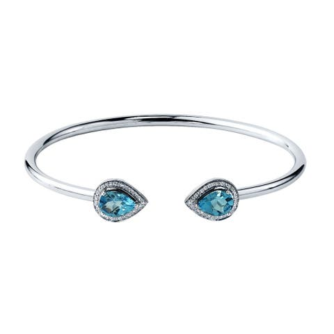 Auriya 2 1/2ct Pear-cut Swiss-Blue Topaz Gold over Silver Bangle Bracelet with Diamond Accents