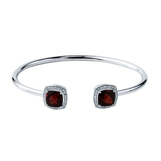 Stackable 5ct Cushion-Cut Red Garnet Open Bangle Bracelet with Diamond Accents by Auriya in Gold over Silver