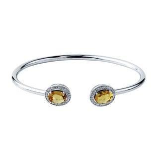 Auriya Gold over Silver 2ct. Oval-Cut Citrine and Halo Diamond Stackable Cuff Bangle Bracelet