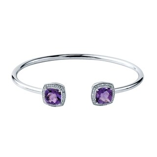 Stackable 4ct Cushion Purple Amethyst Open Bangle Bracelet with Diamond Accents by Auriya in Gold over Silver
