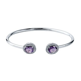 Stackable 2ct Oval Purple Amethyst Open Bangle Bracelet with Diamond Accents by Auriya in Gold over Silver