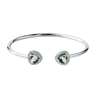 Auriya Gold over Silver 3 1/2ct. Trillion-Cut Green Amethyst and Halo Diamond Stackable Cuff Bangle Bracelet