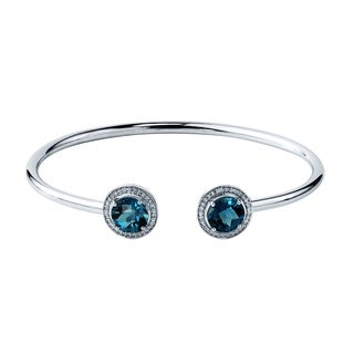 Stackable 4ct Round London Blue Topaz Open Bangle Bracelet with Diamond Accents by Auriya in Gold over Silver