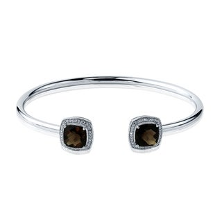 Stackable 4 1/4ct Cushion-Cut Smoky Quartz Open Bangle Bracelet with Diamond Accents by Auriya in Gold over Silver