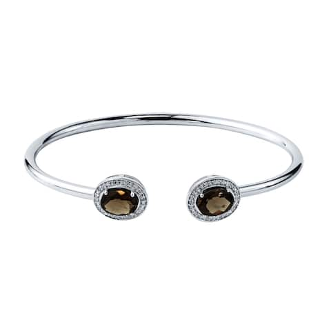 Auriya 2ct Oval Smoky Quartz Gold over Silver Bangle Bracelet with Diamond Accents