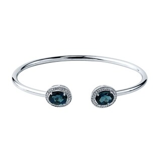 Stackable 3ct Oval London Blue Topaz Open Bangle Bracelet with Diamond Accents by Auriya in Gold over Silver